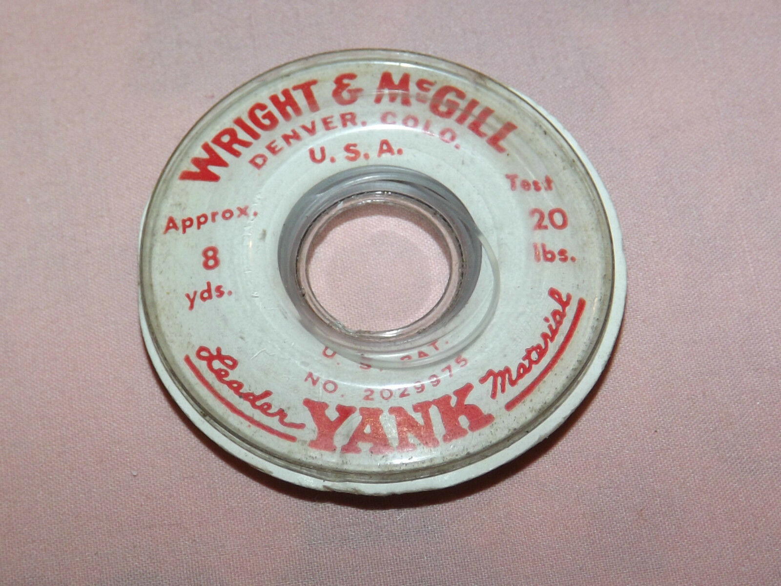 VINTAGE 1930S FISHING WRIGHT & MCGILL LEADER YANK  8 YDS 20 PND TEST STRING LINE