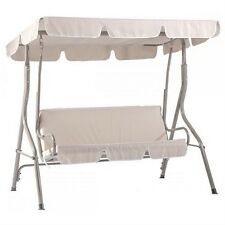 Beige Canopy Swing Glider Hammock Chair Patio Backyard Porch Furniture SW68 New