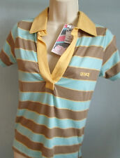 ANIMAL Size 8 Ladies POLO T-Shirt Top punk Skateboard baby blue yellow surf NEW
