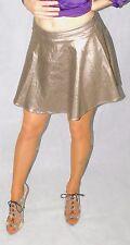 Do & Be, Sexy Shiny Pewter Metallic Mini Skirt, Flared, Back Zip, L