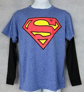 Superman-Officially-Licensed-Boys-T-Shirt-Mock-Layer-Long-Sleeve-Blue