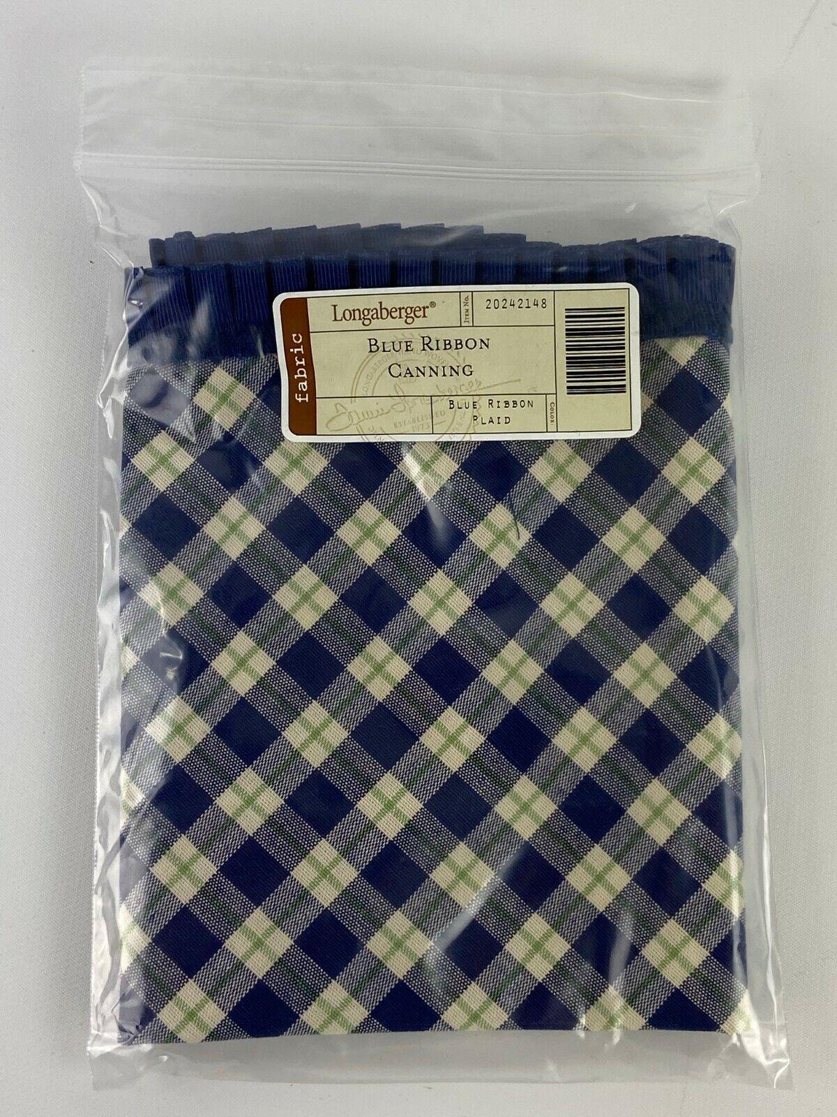 Lot of 5 Longaberger Fabric 20242148 Blue Ribbon Canning Plaid Basket Liner