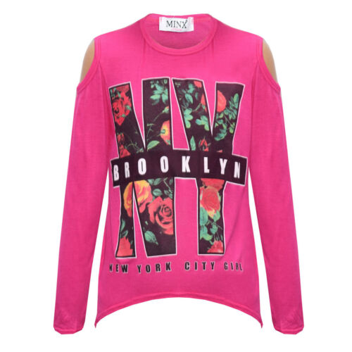 "NEW Girls /""New York Brooklyn/"" Floral Cut Shoulder Tops Kids Shirt Age 5-13 Years"