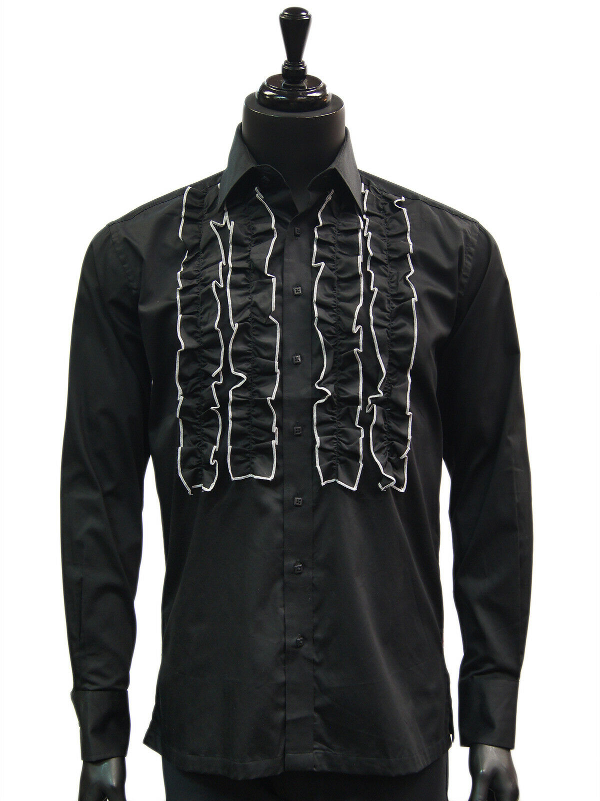 2588f3980902 Manzini Bianco Bordo Uomo Manica Lunga Casual Gale Tuxedo Camicia Abito  Nero noavpo3724-Camicie casual e maglie