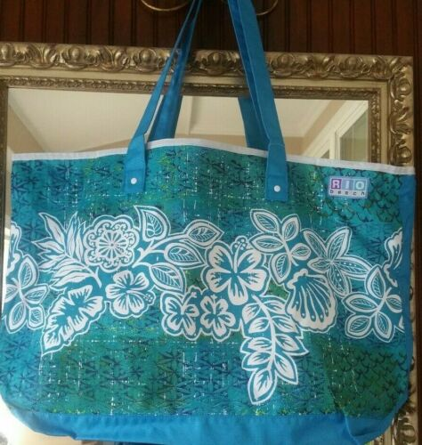 Rio Beach Deluxe Tote Large bag Blue with beautiful Flowers