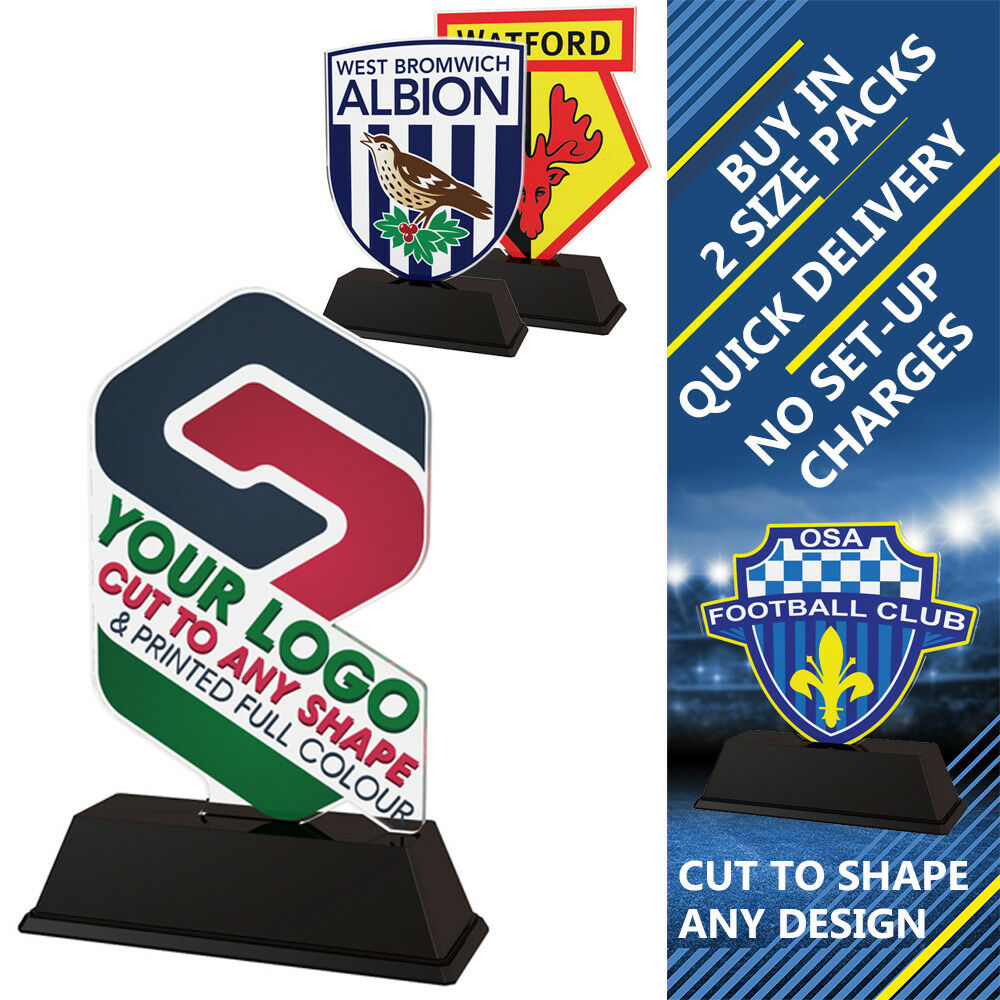 15x FOOTBALL CLUB CLUB CLUB LOGO PRINTED CUSTOM 100mm ACRYLIC TROPHIES FREE ENGRAVING 07ef8f