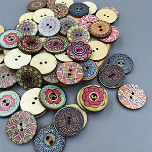 100X-Mixed-Wooden-Buttons-Vintage-Flowers-Wood-Buttons-20mm-Diameter-2-holes-Pg