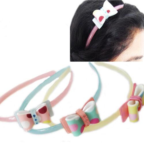 Hair Alice Band Girls Kids Headband Bow Style Plastic Head Band School PINK Cute