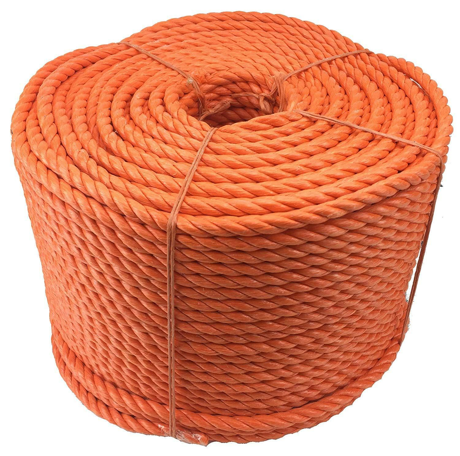 orange 3 Strand Polypropylene Poly Rope 8mm, 10mm and 12mm Cheap Nylon Twisted