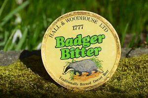 """Vintage England Dorset Beer BADGER BITTER Round Emblem for Tap Handle 4"""" Plastic"""