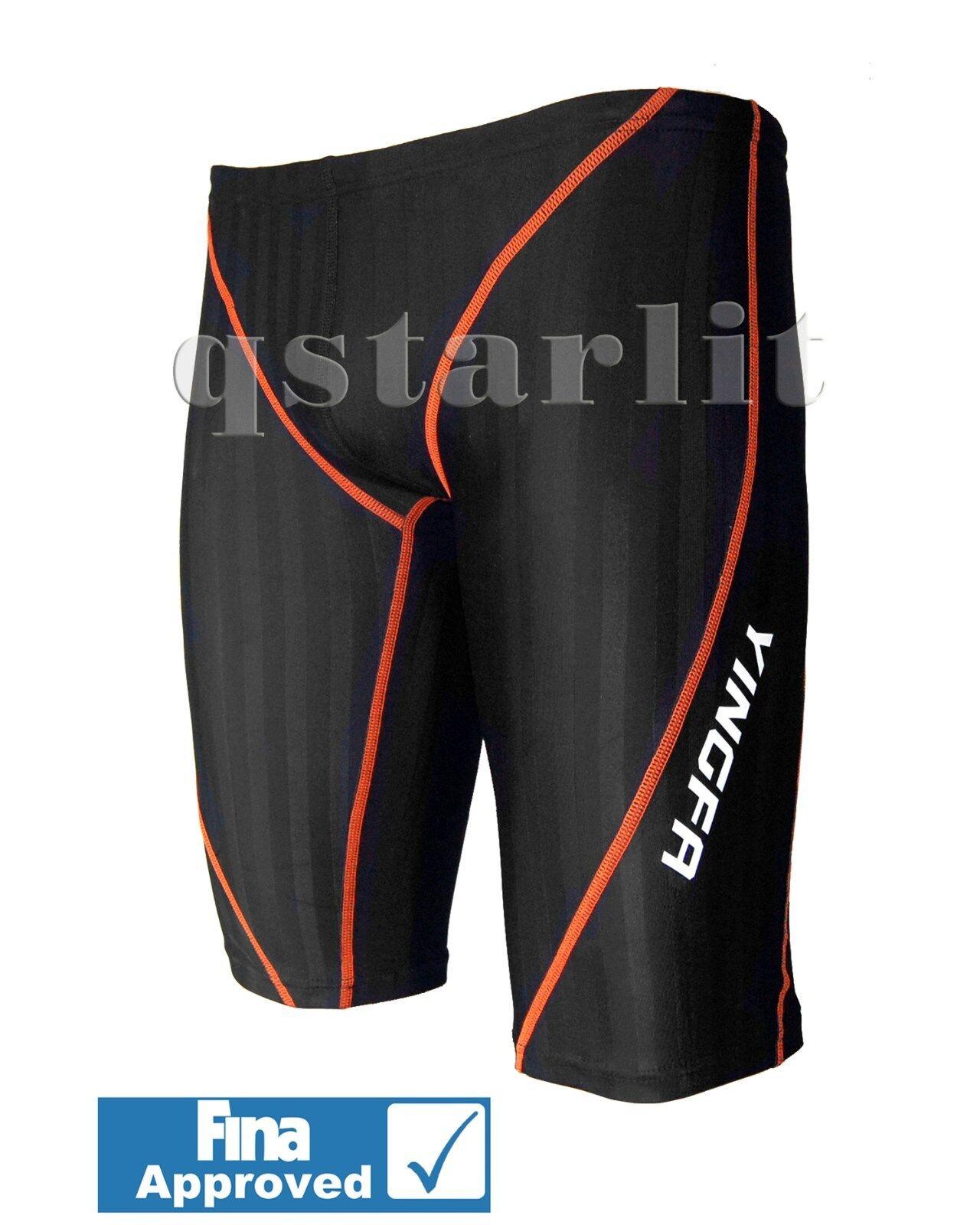 FINA Men Male Racing Competition Aqua Blade Swimwear Jammer Size 30 32, XL XXL