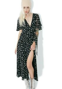 Wildfox Couture Black White Floral Maxi Wrap Dress Flutter Sleeve Womens L