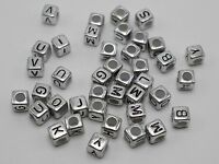 500 Assorted Silver Acrylic Alphabet Letter Cube Beads 6X6mm