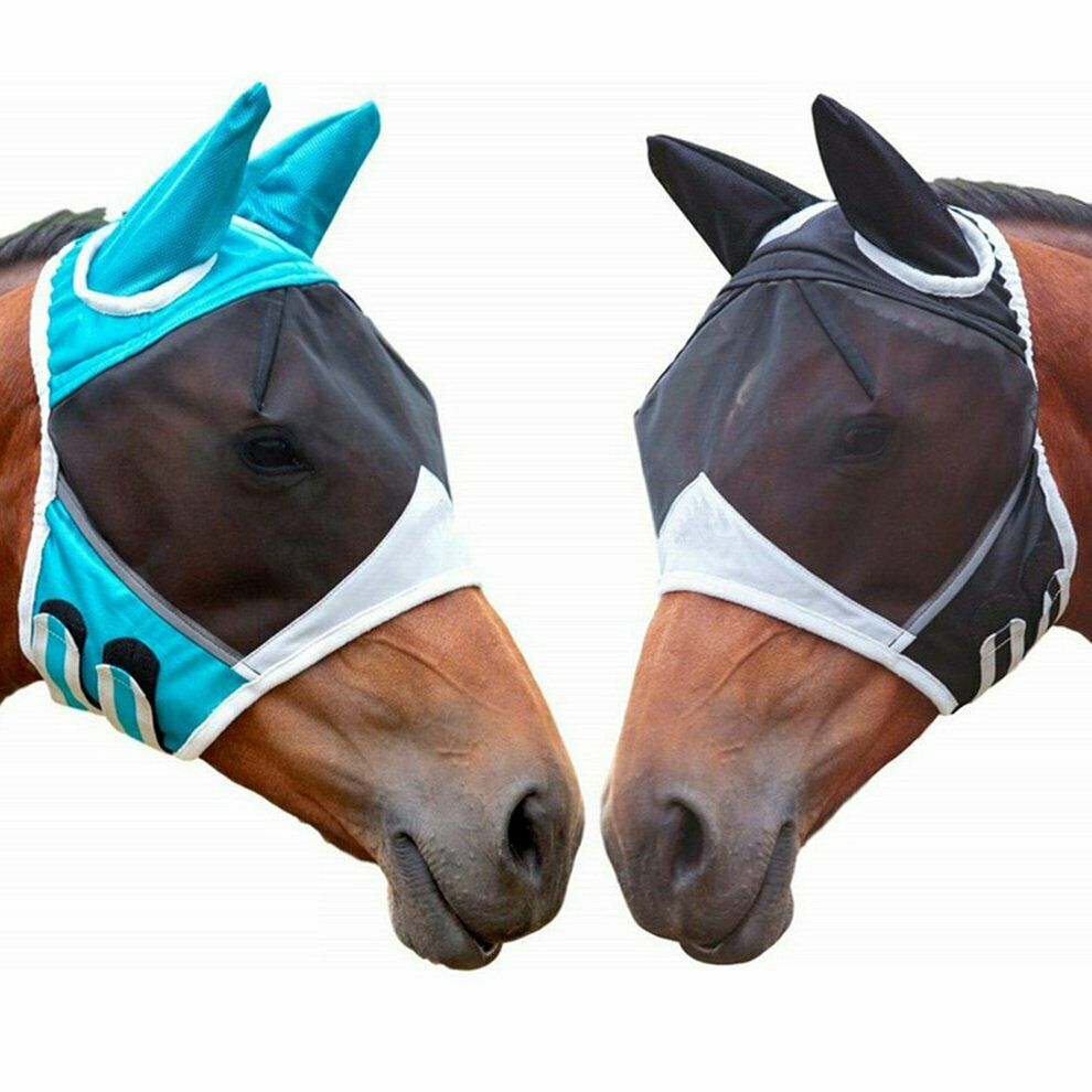 Harrison Howard Horse Fly Mask Hood Full Face Mesh Fleece Padded Anti-UV Free PP
