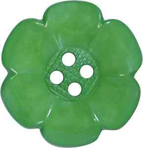 4 BIG GREEN LARGE GIANT FLOWER CLOWN BUTTONS CRAFTS AND FANCY DRESS COSTUMES