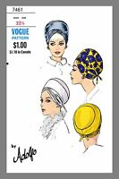 Vogue Millinery Designer Adolfo Turban Fabric Material Sewing Pattern 7461