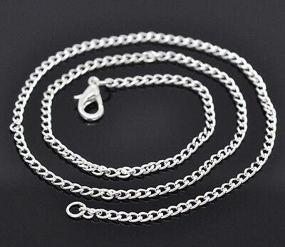 12 Colliers Chaîne Bijoux Mode Fermoir Mousqueton Argenté 2x3mm 46cm