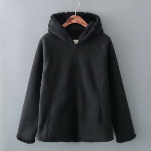 Womens-Clothing-Plus-Size-Long-Sleeve-Fleece-Full-Zip-Pocket-Jacket-Coat-Hood
