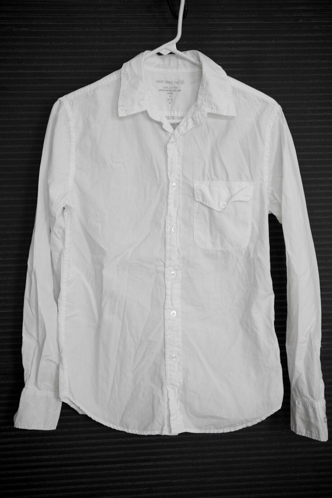 NEW Save Khaki Men's Poplin Work Shirt Extra Small XS - White S.K.U. 100% Cotton