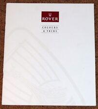 ROVER COLOURS & TRIMS Sales Brochure circa 1992-93- Mini Metro 200 400 600 800