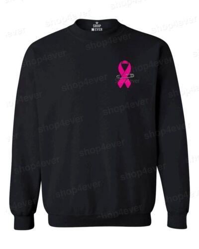 Pink Ribbon Pin Crewneck Breast Cancer Awareness Support Faith Hope Sweatshirts