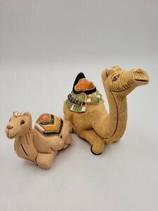 Artesania Rinconada Camel Pair Mother Baby Signed Ceramic Textured