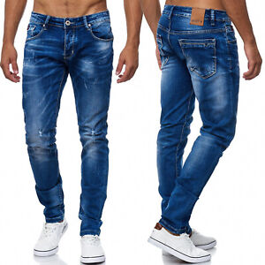 Herren-Jeans-Destroyed-Ripped-Zerrissen-Used-Loecher-Risse-Hose-Stone-Washed