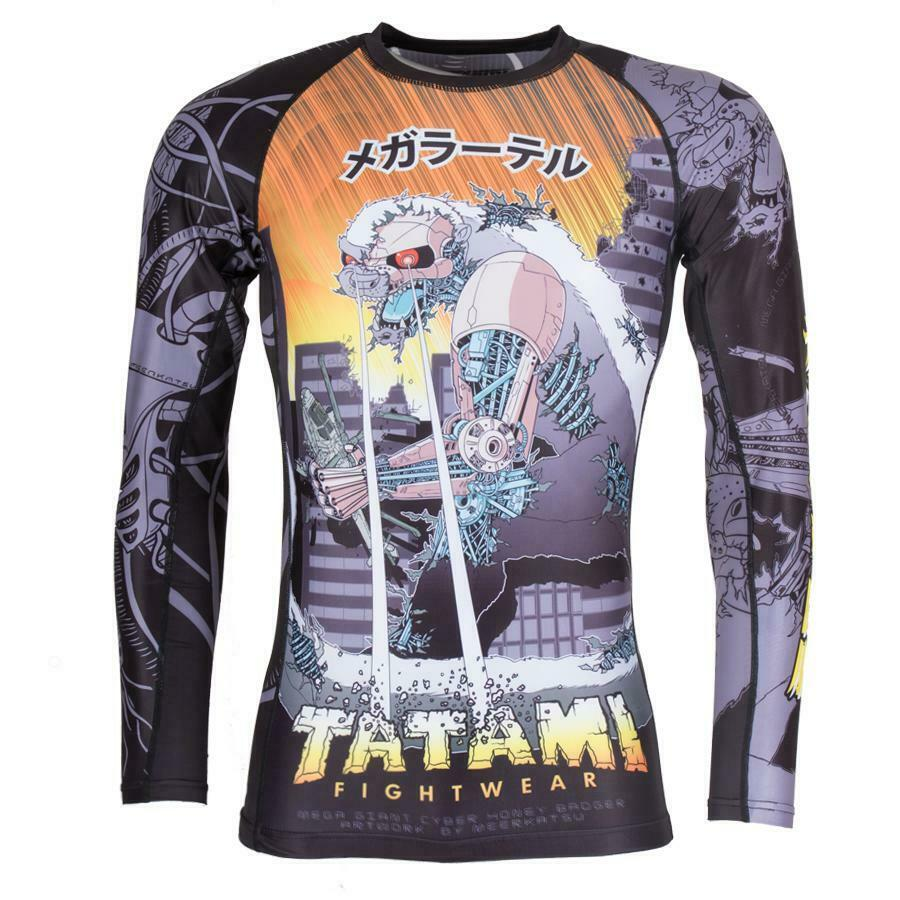 Tatami Cyber Honey Badger Rash Guard BJJ No-Gi MMA Jiu Jitsu Compression Top