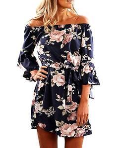 5fd6770839a New Womens Off Shoulder Blue Floral Print Shift Dress with Belt ...