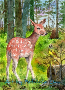 """ACEO LE Art Card Print 2.5x3.5/"""" Unicorn In The Woods /""""Fantasy Art by Patricia"""
