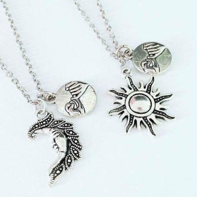 ONE OF A KIND SILVER TONE SUN //MOON BEST FRIENDS CHARM PENDANT NECKLACE