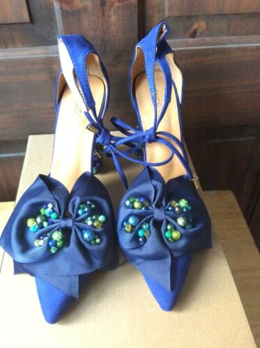 6 Blue Bead Bow Designer Aqua Size Big Aspirebykl Suede Customised With Heels 5 w1qBBfOn