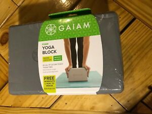 "gaiam foam yoga block gray 9"" x 6"" x 4"" workout stretching"