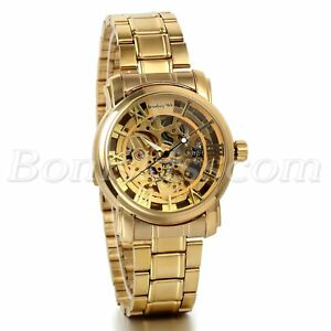 Men-039-s-Luxury-Gold-Tone-Stainless-Steel-Skeleton-Automatic-Mechanical-Wrist-Watch