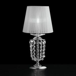 Lampada Da Comodino Lumetto In Cristallo Trasparente Moderno Design Cromato Ebay
