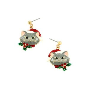 Pierced-1-1-2-034-gold-gray-dangling-Christmas-Cat-earrings-w-red-stones