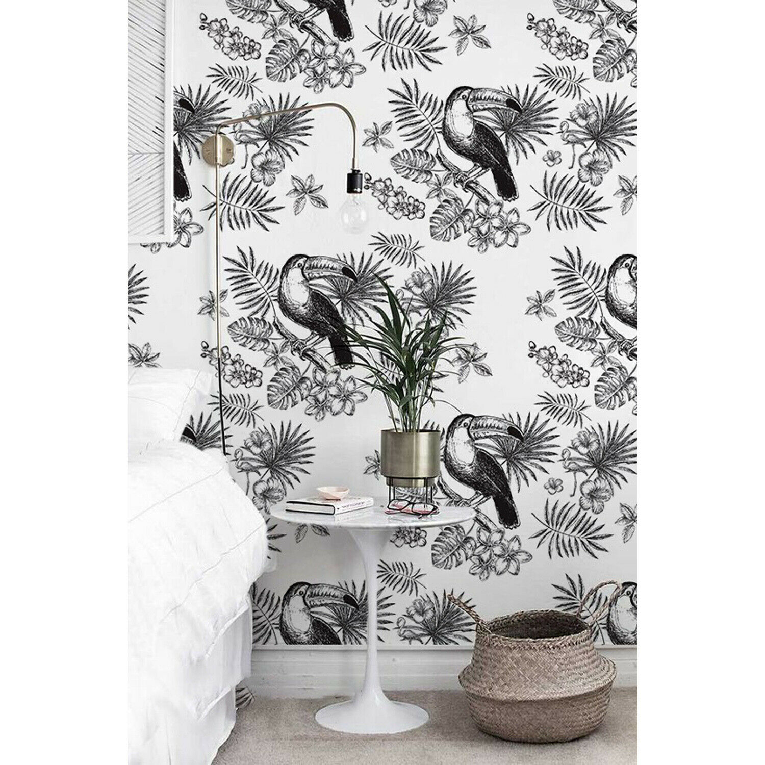 Removable wallpaper Tropical Toucan Wall Mural Self adhesive Floral Wall Decor