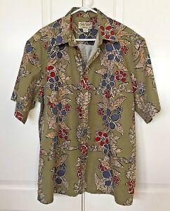 COOKE-STREET-Honolulu-Men-039-s-XL-Hawaiian-Shirt-S-S-Green-Burgundy-Gray-Hibiscus