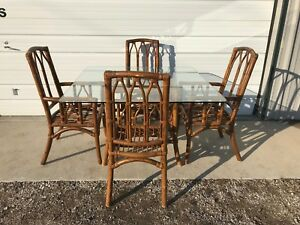 Dining Set Rattan Faux Bamboo Chairs Table Hollywood Regency Chinese Chippendale Ebay