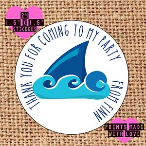 Personnalisé 24 shark finn sac fête autocollants sweet cône étiquettes swim sf