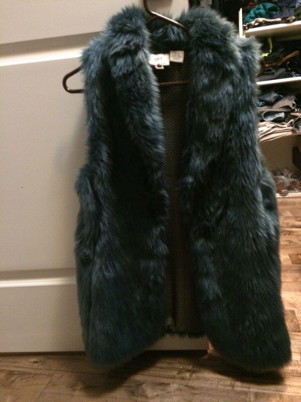 Womens Womens Womens Teal Fur Vest - M 63024b