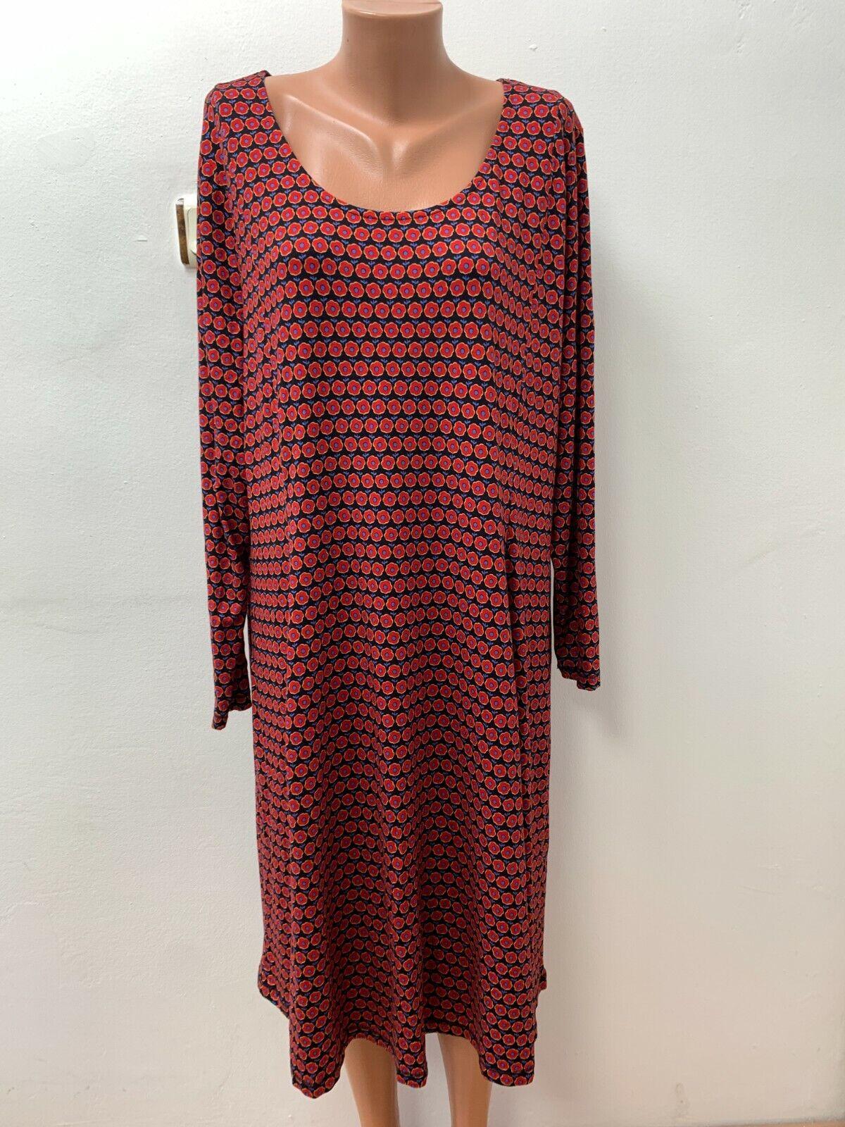 DEERBERG Gr.2XL XXL Stretch Kleid Jerseykleid Mehrfarbig geblümt Langarm Midi