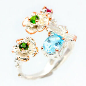 Vintage-style-Flower-design-Natural-Blue-Topaz-925-Sterling-Silver-Ring-RVS98