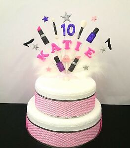 Image Is Loading Makeup Bags And Shoes Custom Birthday Cake Topper