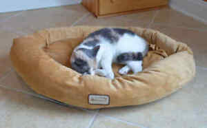 Armarkat-Soft-Velvet-Oval-Cat-Small-Dog-Pet-Bed-Machine-Washable-Brown-SMALL