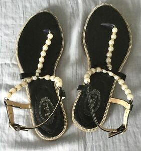 d4ffafaca714a Image is loading ITALINA-EVENING-SANDALS-w-PEARLS-amp-RHINESTONES-FRONT-