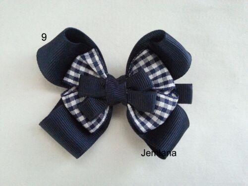 for girls.. Jemlana/'s handmade school hair clips check ribbon bow