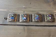 Antique Art Nouveau 1938 Portuguese Filigree Enamel Sterling Silver Bracelet