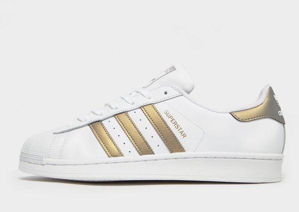 Adidas Originals Superstar Shell Toe blancoo de cuero y dorado iridiscente (UK 8) Nuevo Y En Caja