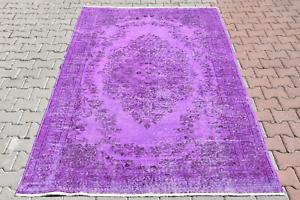 1,8x2,7m Vintage Turque Oushak Handmade Violet Couleur Médaillon Design Bon Pour AntipyréTique Et Sucette De La Gorge